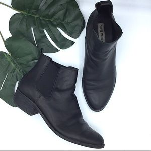 Steve Madden Black Leather Ankle Boots 8.5